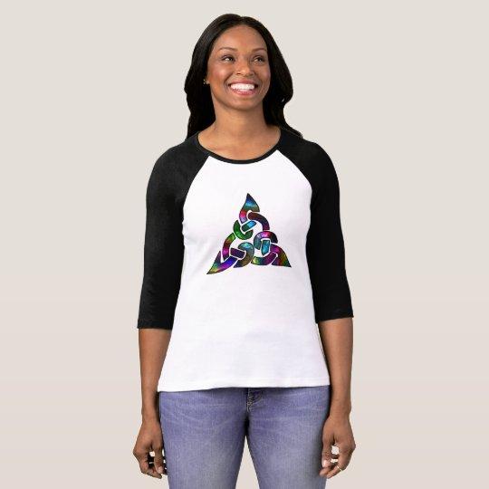 Metallischer bunter keltischer Knoten T-Shirt