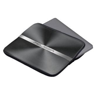 Metallischer Druck der schwarzen glänzenden Laptopschutzhülle