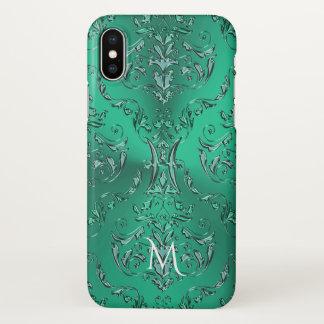 Metallischer grüner Damast iPhone X Hülle