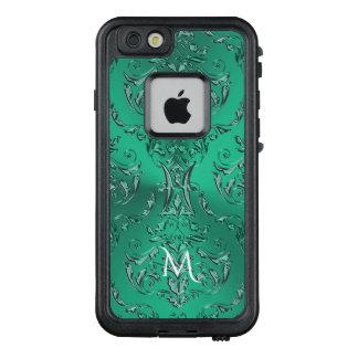 Metallischer grüner Damast LifeProof FRÄ' iPhone 6/6s Hülle