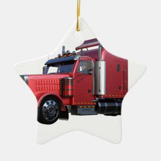 Metallischer Rot-halb Traktor Traler LKW Keramik Ornament