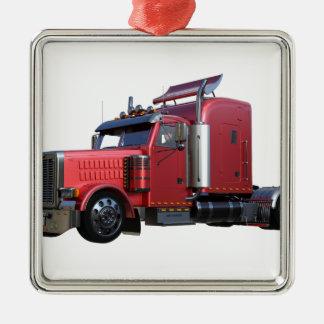Metallischer Rot-halb Traktor Traler LKW Silbernes Ornament