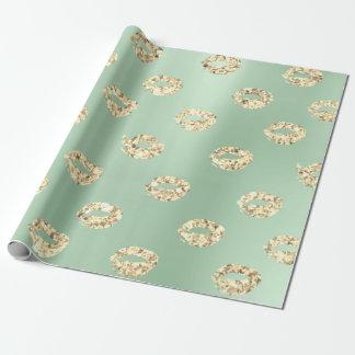 Metallischer tadelloser grüner Tiffany Foxier Geschenkpapier