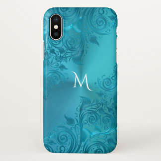 Metallischer Türkis-Blumenspitze-Monogramm iPhone X Hülle