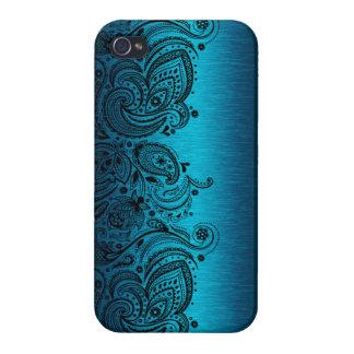 Metallisches Aqua-Blau mit schwarzer iPhone 4/4S Hülle
