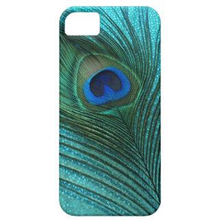 Metallisches Aqua-blaue Pfau-Feder iPhone 5 Etui
