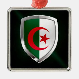 Metallisches Emblem Algeriens Quadratisches Silberfarbenes Ornament