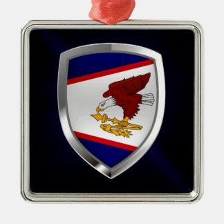 Metallisches Emblem American Samoa Silbernes Ornament