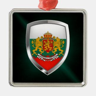 Metallisches Emblem Bulgariens Quadratisches Silberfarbenes Ornament