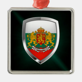 Metallisches Emblem Bulgariens Silbernes Ornament