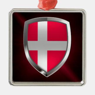 Metallisches Emblem Dänemarks Silbernes Ornament