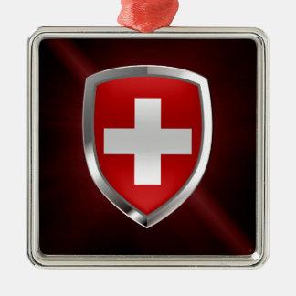 Metallisches Emblem der Schweiz Quadratisches Silberfarbenes Ornament