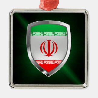 Metallisches Emblem des Irans Silbernes Ornament
