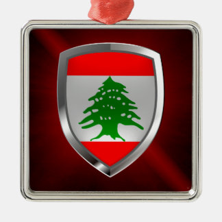 Metallisches Emblem des Libanons Quadratisches Silberfarbenes Ornament