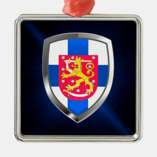 Metallisches Emblem Finnlands Silbernes Ornament