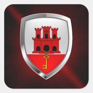 Metallisches Emblem Gibraltars Quadratischer Aufkleber
