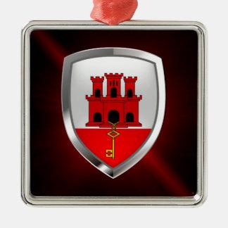 Metallisches Emblem Gibraltars Silbernes Ornament