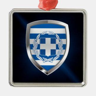 Metallisches Emblem Griechenlands Silbernes Ornament