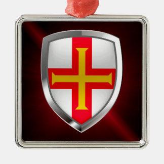 Metallisches Emblem Guernseys Silbernes Ornament