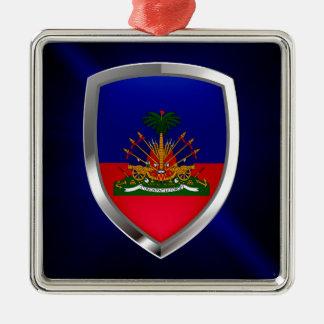 Metallisches Emblem Haitis Silbernes Ornament