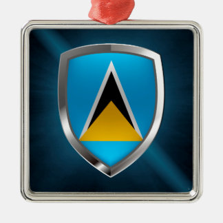 Metallisches Emblem Heiliger Lucia Quadratisches Silberfarbenes Ornament