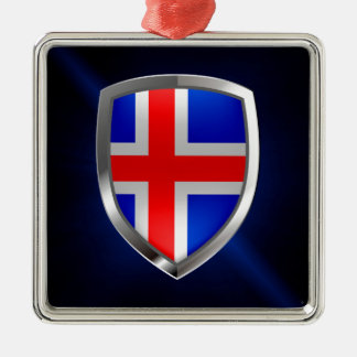 Metallisches Emblem Islands Silbernes Ornament