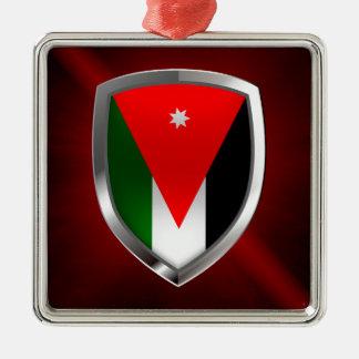 Metallisches Emblem Jordaniens Quadratisches Silberfarbenes Ornament