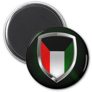 Metallisches Emblem Kuwaits Runder Magnet 5,1 Cm