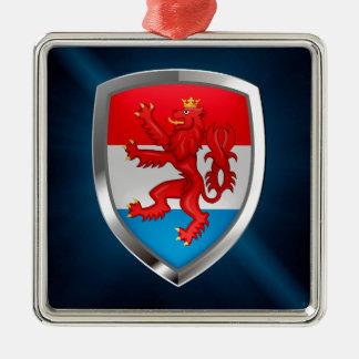 Metallisches Emblem Luxemburgs Quadratisches Silberfarbenes Ornament