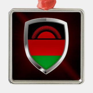 Metallisches Emblem Malawis Quadratisches Silberfarbenes Ornament