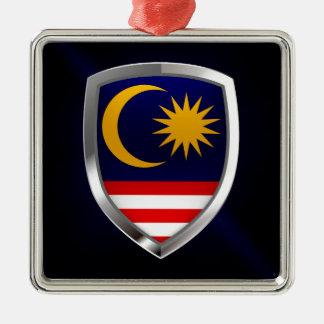 Metallisches Emblem Malaysias Quadratisches Silberfarbenes Ornament