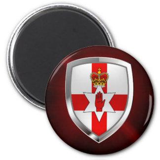 Metallisches Emblem Nordirlands Runder Magnet 5,7 Cm