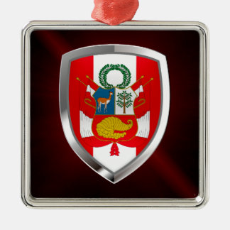 Metallisches Emblem Perus Silbernes Ornament