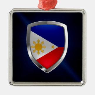 Metallisches Emblem Philippinen Quadratisches Silberfarbenes Ornament