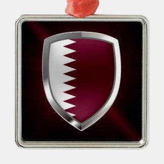 Metallisches Emblem Qatars Quadratisches Silberfarbenes Ornament