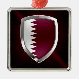 Metallisches Emblem Qatars Silbernes Ornament