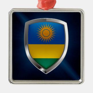 Metallisches Emblem Ruandas Quadratisches Silberfarbenes Ornament