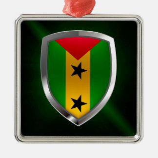 Metallisches Emblem São Tomé und Príncipes Silbernes Ornament