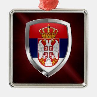 Metallisches Emblem Serbiens Quadratisches Silberfarbenes Ornament