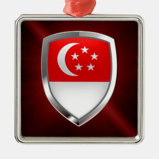 Metallisches Emblem Singapurs Silbernes Ornament