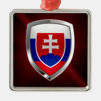 Metallisches Emblem Slowakei Quadratisches Silberfarbenes Ornament