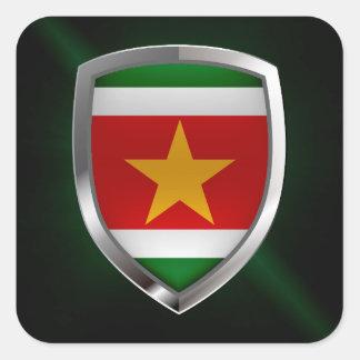 Metallisches Emblem Surinams Quadratischer Aufkleber