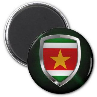 Metallisches Emblem Surinams Runder Magnet 5,7 Cm