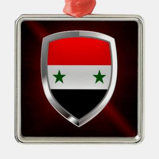 Metallisches Emblem Syriens Quadratisches Silberfarbenes Ornament