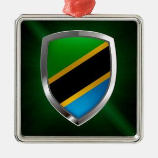 Metallisches Emblem Tansanias Quadratisches Silberfarbenes Ornament