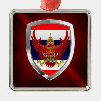 Metallisches Emblem Thailands Quadratisches Silberfarbenes Ornament