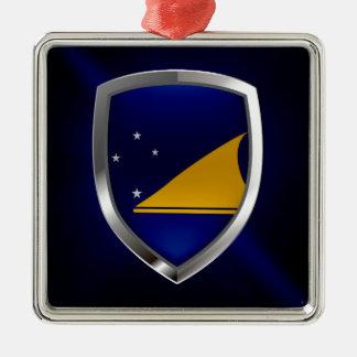 Metallisches Emblem Tokelaus Quadratisches Silberfarbenes Ornament