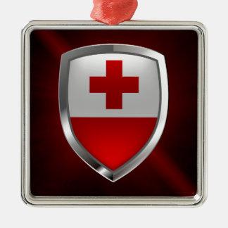 Metallisches Emblem Tongas Quadratisches Silberfarbenes Ornament