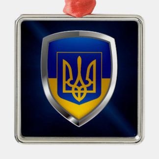 Metallisches Emblem Ukraine Silbernes Ornament