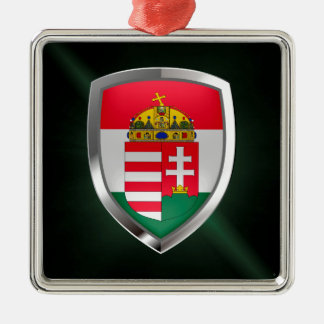 Metallisches Emblem Ungarns Silbernes Ornament